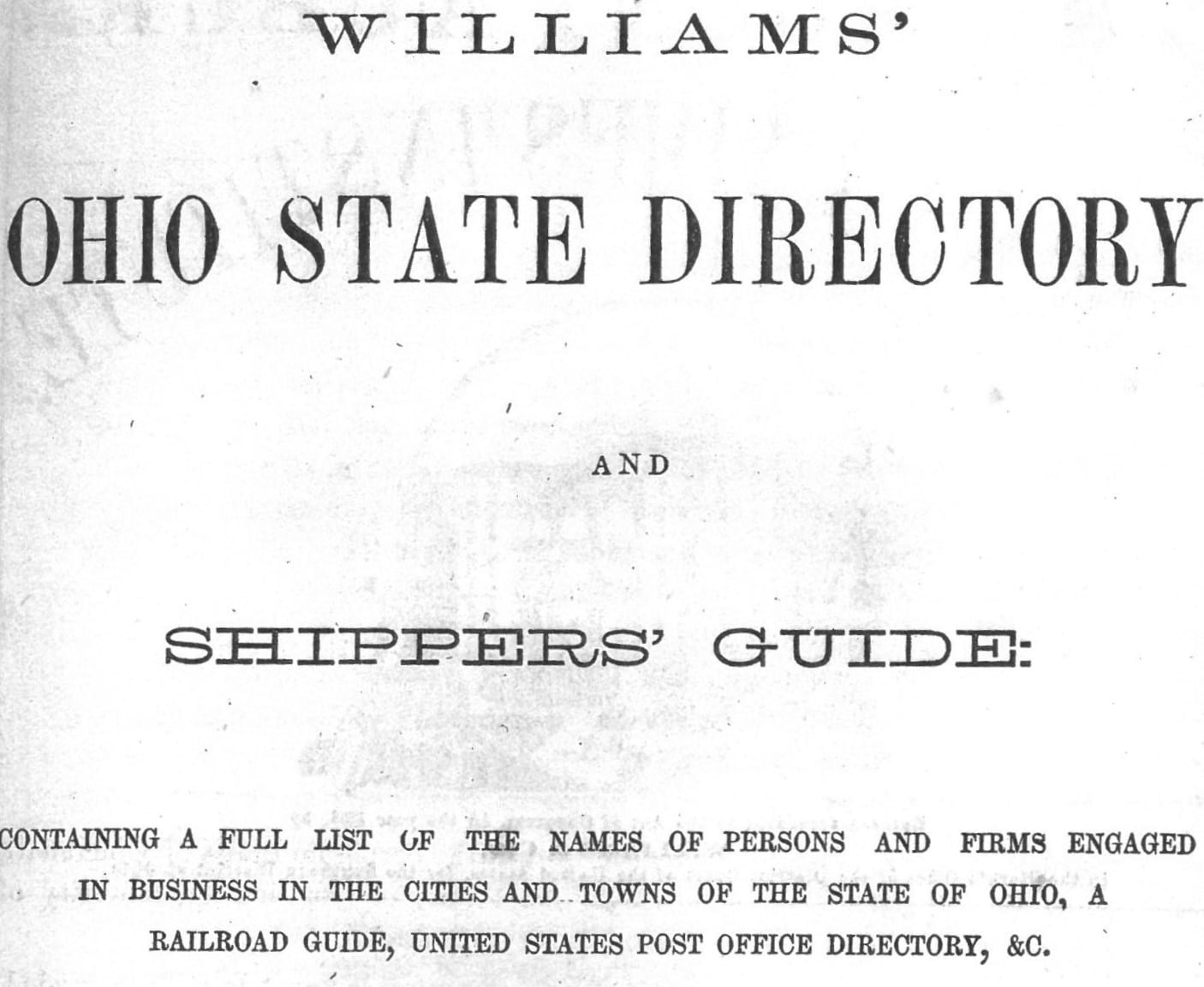 Title Page of Shippers' Directory